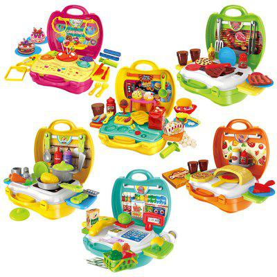 Children Playing Set  Suitcase Simulation Kitchen Toys Plastic Tableware with Medical Kit BinPretend Play<br>Children Playing Set  Suitcase Simulation Kitchen Toys Plastic Tableware with Medical Kit Bin<br><br>Age: 3 Years+<br>Applicable gender: Unisex<br>Design Style: Cartoon<br>Features: Educational<br>Gender: Unisex<br>Material: ABS<br>Package Contents: 1 x Set of Toys<br>Package size (L x W x H): 34.00 x 25.00 x 10.00 cm / 13.39 x 9.84 x 3.94 inches<br>Package weight: 0.6634 kg<br>Product weight: 0.5528 kg<br>Small Parts: Yes<br>Type: Tool Toy<br>Washing: Yes
