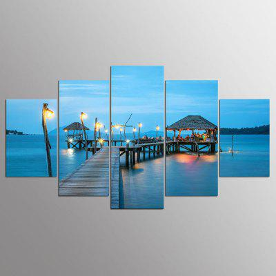 YSDAFEN 5 Panel Modern Boardwalk On The Beach Canvas Art For Living Room Wall Picture