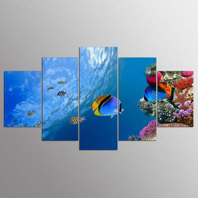 Buy YSDAFEN 5 Panel Hd Fish Living in The Ocean Canvas Art for Living Room Wall Picture COLORMIX for $29.15 in GearBest store