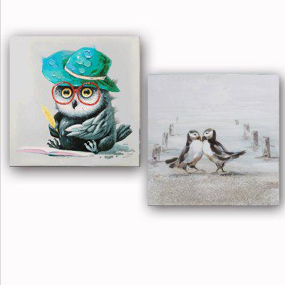 Happy Art Handed Canvas Modern Abstract Birds 2PCS Oil Painting Art