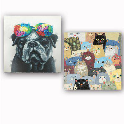 Happy Art Handed Canvas Modern Abstract Dogs 2PCS Oil Painting Art
