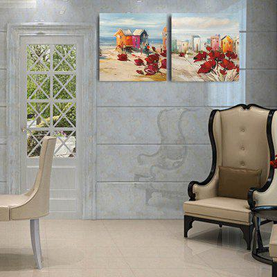 Happy Art Handed Canvas Modern Abstract Beach 2PCS Oil Painting Art