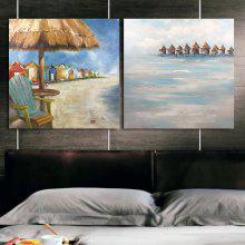 Happy Art Handed Canvas Modern Abstract Beach House 2PCS Oil Painting Art