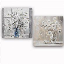 Happy Art Handed Canvas Modern Abstract Flower  2PCS Oil Painting Art