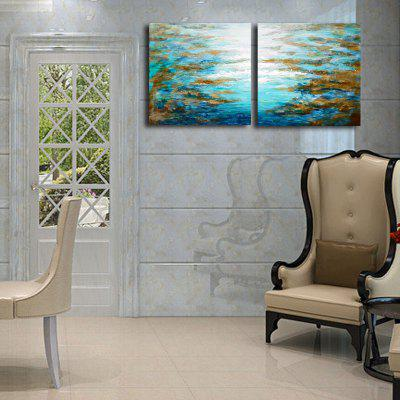 Happy Art Handed Canvas Modern Abstract Water 2PCS Oil Painting Art