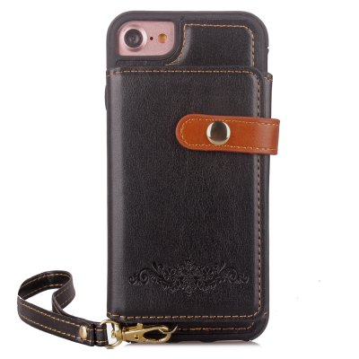 Bolsa dobrável destacável Card Lanyard Pu Leather Cover para iPhone 6