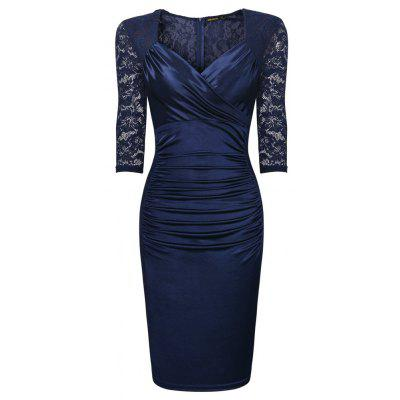 Buy DARK BLUE L 2017 Women Mature Ruffle Vintage Half Sleeve V-Neck Lace Patchwork Party Female Pencil Sexy Bodycon Dresses for $15.37 in GearBest store