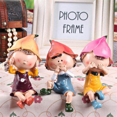 3шт Resin Creative Classic Lovely Cartoon Doll Shaped Desk Display