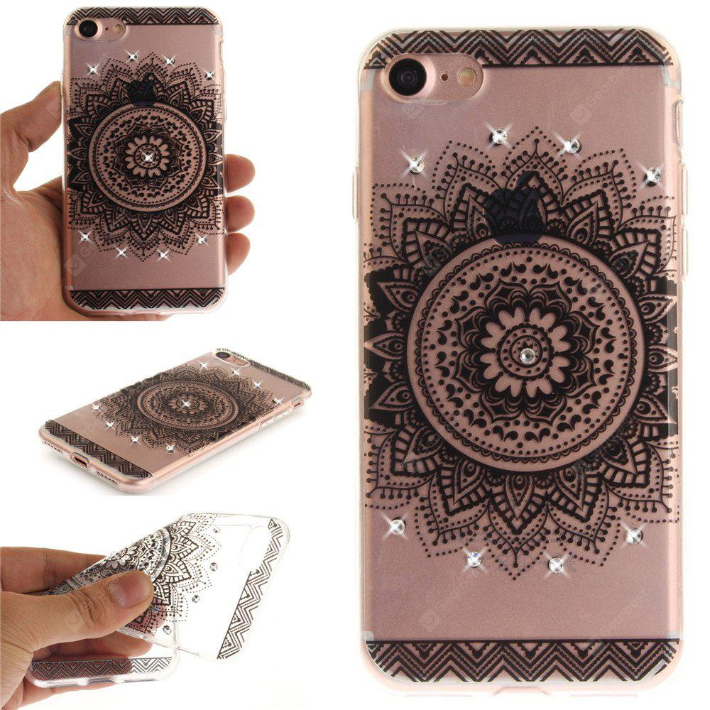 Black Datura Shining Diamond Soft Clear IMD TPU Phone Casing Mobile Smartphone Cover Shell Case para iPhone 7