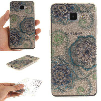 Blue Green Dream Flower Soft Clear IMD TPU Phone Casing Mobile Smartphone Cover Shell Case for Samsung A310 2016