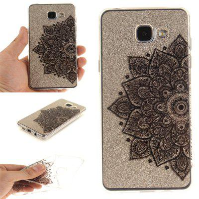 Black Half Flower Soft Clear IMD TPU Phone Casing Mobile Smartphone Cover Shell Case for Samsung A310 2016