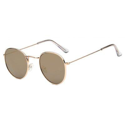 Viendo Fashion Trendy Alloy Round Frame Sunglasses With Mirrored Lenses UV400 Protection Glasses