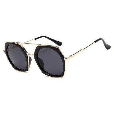 Viendo Alloy Oversized Round Frame Sunglasses With Mirrored Lenses Unisex UV400 Protection Glasses