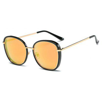 Viendo Vintage Alloy Oversized Round Frame Sunglasses With Mirrored Lenses for Women Girls UV400 Protection Glasses