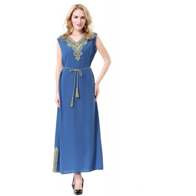 Buy Abaya Lady Dress TH908 ROYAL BLUE M for $31.35 in GearBest store