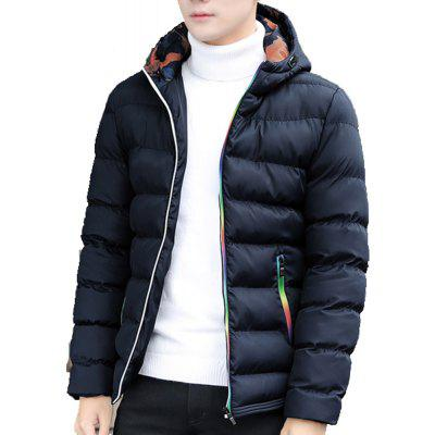 Men's Quilted Coat Casual Stand Collar Solid Color  Comfy All Matched Coat