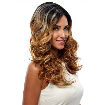 Synthetic Hair Skin Part Lace Front Wig Curly Long Curly Heat Resistant Fiber Ombre Color Wig For Women RC0666 cheap body wave heat resistant red lace front wig synthetic with baby hair natural hairline for fashion white black women