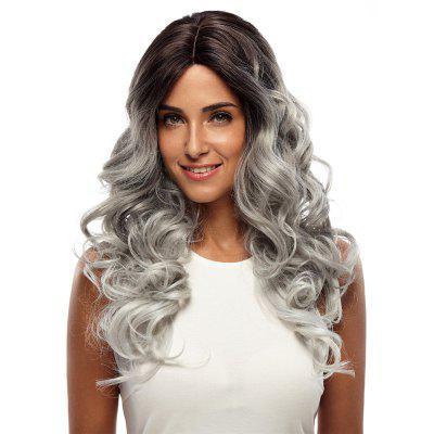 Synthetic Hair Skin Part Lace Front Wig Curly Long Curly Heat Resistant Fiber Ombre Color Wig For Women RC0666