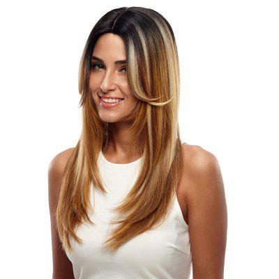 Synthetic Hair Skin Part Lace Front Wig Long Straight Heat Resistant Fiber Ombre Color Wig For Women RC0776 long straight black natural heat resistant synthetic lace front wig