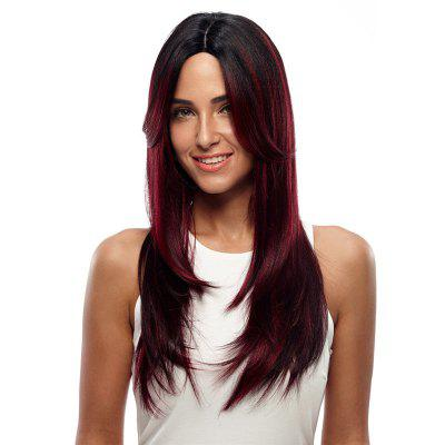 Synthetic Hair Skin Part Lace Front Wig Long Straight Heat Resistant Fiber Ombre Color Wig For Women RC0776