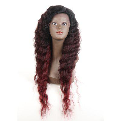 Synthetic Lace Front Long Wavy Wig Ombre color Heat Resistant Fiber Hair Wigs For Women RC0895