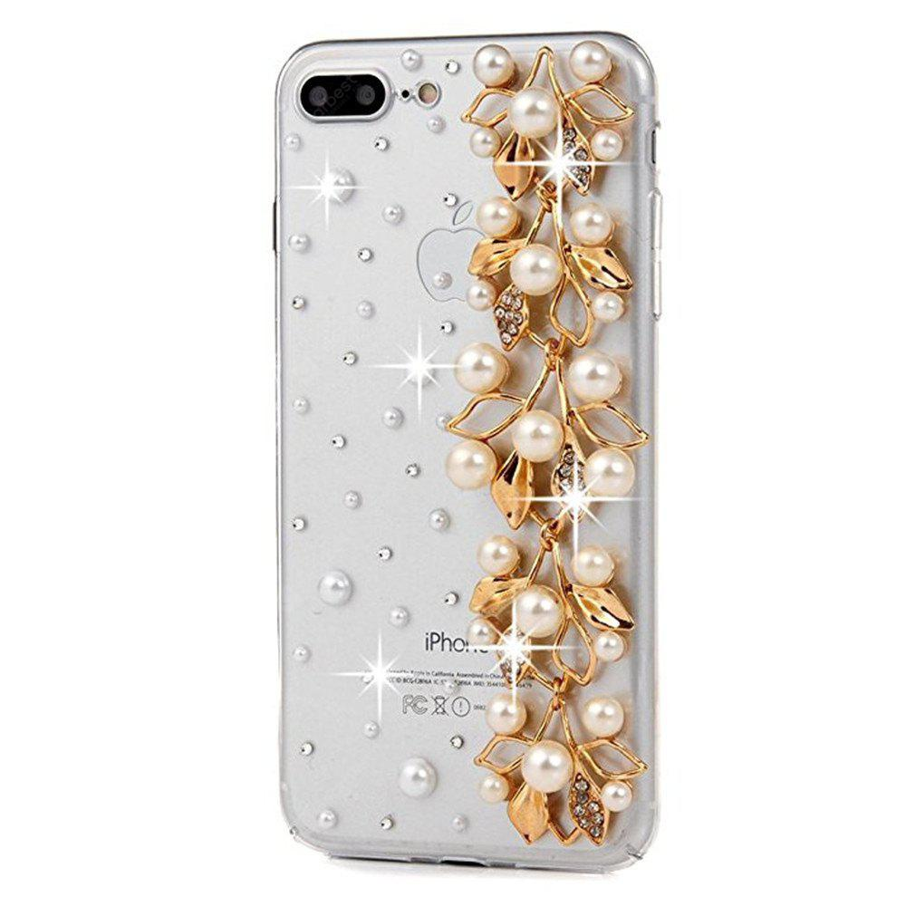 For iPhone 7 Plus Case 3D Handmade Bling Golden Diamond Bow with Ribbons with Shiny Sparkle Rhinestone Gems Crystal Cle