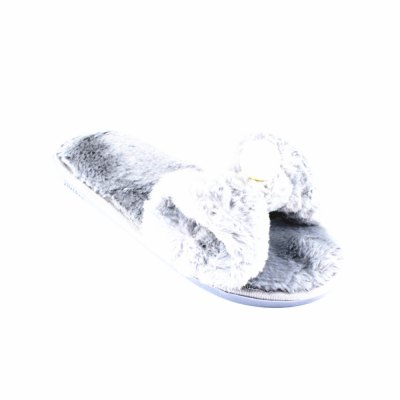 Artificial Pearl Faux Fur Overlay Flat Slippers