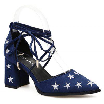 Ladies Rubber Sole Embroidered Star with High Heels