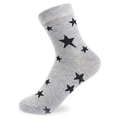 Buy COLORMIX Pure Color Stars Graphic Elastic Knit Socks N201612 5 Pairs for $19.39 in GearBest store