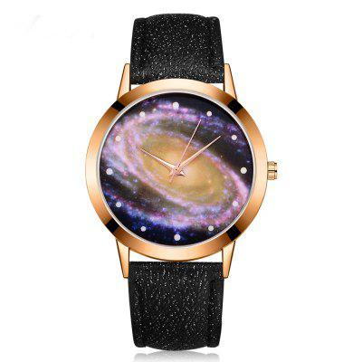 GAIETY G384 Women's Starry Sky Dial Leather Band Dress Watch