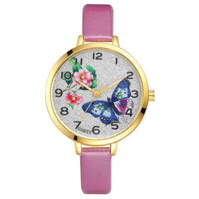 GAIETY G218 Luxury Gold Dial Leather Strap Ladies Watch