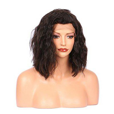 Brazilian Virgin Human Hair Water Wave Bob Lace Front Wigs Black Color 10 12 14Inch
