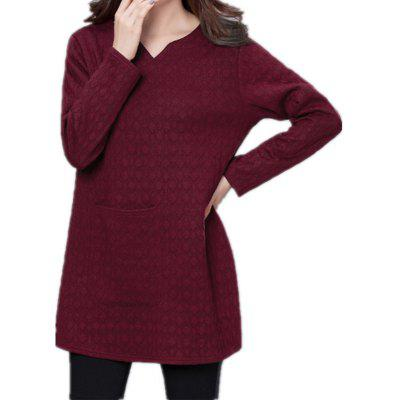 V-neck Knit Long Sleeve Women's Wearing T-shirt