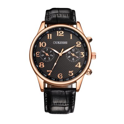OUKESHI Fashion Men Business Leather Quartz Watch -$10.95 ...