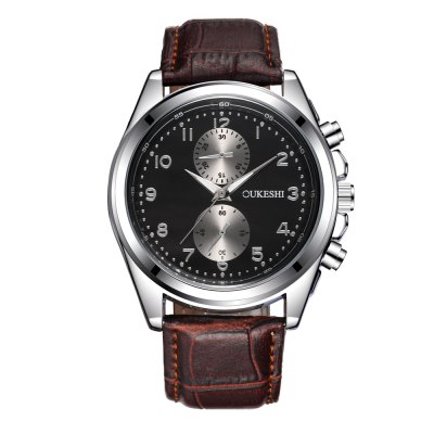 OUKESHI New Style Fashion Men Quartz Brown Leather Watch