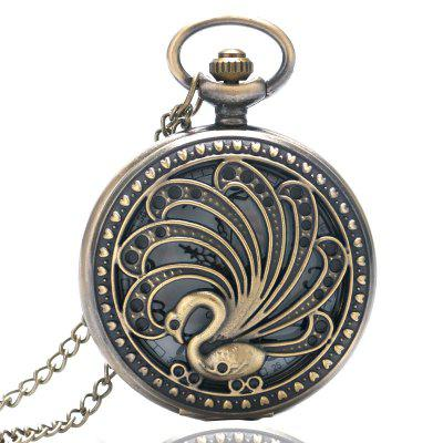 Buy REEBONZ Steampunk Vintage Peacock Hollow Quartz Pocket Watch Necklace Pendant COPPER COLOR for $8.38 in GearBest store