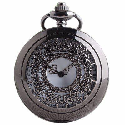 Buy REEBONZ Steampunk Vintage Hollow Silver Quartz Pocket Watch Necklace Pendant BLACK for $7.97 in GearBest store