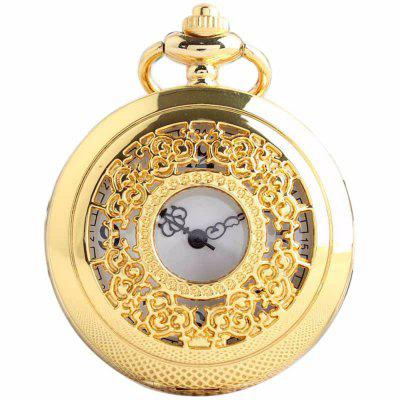 Buy REEBONZ Steampunk Vintage Hollow Silver Quartz Pocket Watch Necklace Pendant GOLDEN for $7.97 in GearBest store