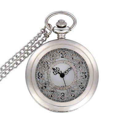 Buy REEBONZ Steampunk Vintage Hollow Silver Quartz Pocket Watch Necklace Pendant SILVER for $7.97 in GearBest store
