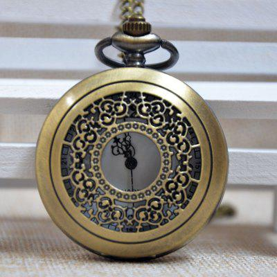 Buy REEBONZ Steampunk Vintage Hollow Silver Quartz Pocket Watch Necklace Pendant COPPER COLOR for $7.97 in GearBest store