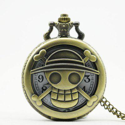 Buy REEBONZ Steampunk Hollow Cartoon Quartz Pocket Watch Necklace Pendant COPPER COLOR for $7.97 in GearBest store