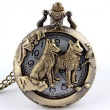 REEBONZ Steampunk Vintage Hollow Dog Quartz Pocket Watch Necklace Pendant53
