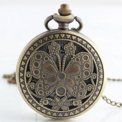 Buy REEBONZ Steampunk Vintage Hollow butterfly Quartz Pocket Watch Necklace Pendant COPPER COLOR for $8.38 in GearBest store
