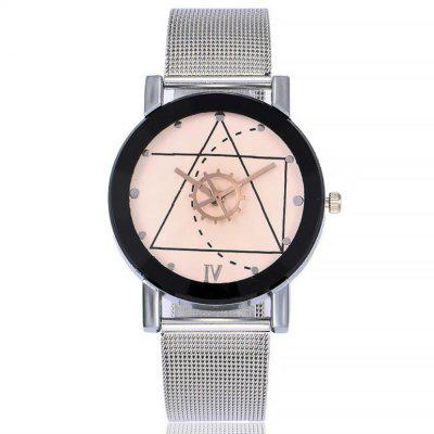 Buy REEBONZ Stainless Steel Mesh Band Marble Strap Analog Quartz Wrist Watch WHITE for $7.82 in GearBest store