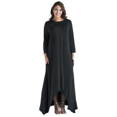 Women'S Fashionable Pure Color Seven Point Sleeve Dress