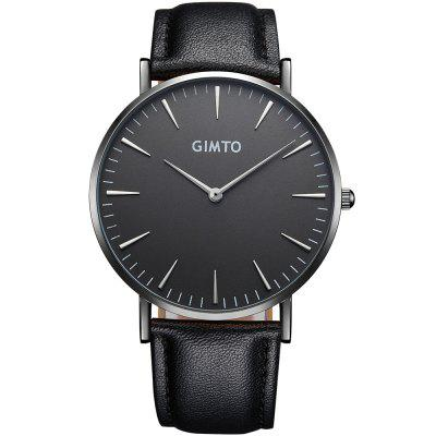 GIMTO Luxury Fashion Unisex Watches Quartz Watch Bracelet Leather BandWristwatches