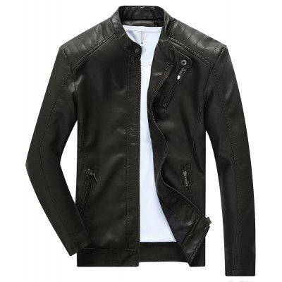 Autumn/Winter Men Long Sleeve Pure Color Thickening Fashionable Coat Youth Casual Leather Jacket