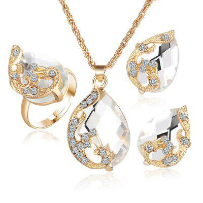 Noble Crystal Wing Water Droplets Necklace Earring Ring Set Popular Fashion Elegant Beautiful Pendant Necklaces Earrings
