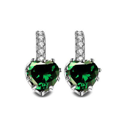 Buy GREEN 18K Gold Filled Heart White Cubic Zirconia Crystal Hoop Clip On Earrings for $5.66 in GearBest store