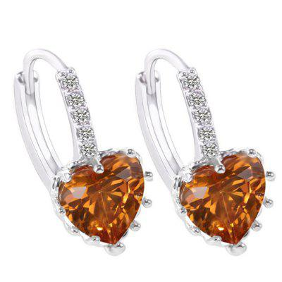 Buy CHAMPAGNE 18K Gold Filled Heart White Cubic Zirconia Crystal Hoop Clip On Earrings for $5.66 in GearBest store